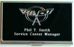Precision engravers quality value service for Corvette business card holder